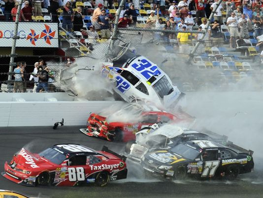 Daytona crash sends car parts flying, injuring fans - CBS News
