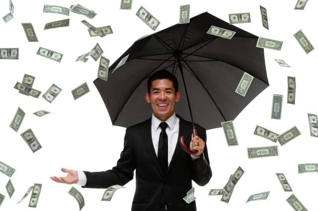 Raining money on a businessman